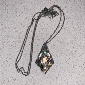 Fake abalone shell necklace. Silver chain
